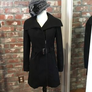 Black winter street coat